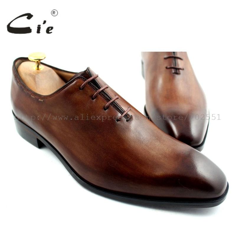 حرية الملاحة cie مفصل مخصص اليدوية العجل الرجال أكسفورد الأحذية الجلدية جلد الزنجار اللون البني OX193 لاصق كرافت