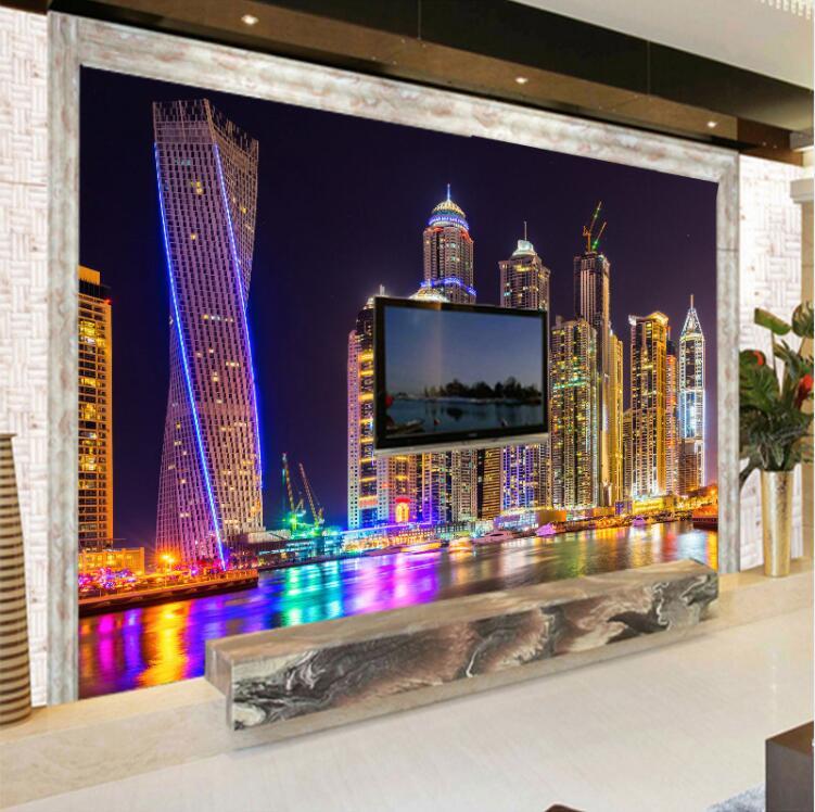 Personalizado 3D Foto Papel De Parede Dubai Noite Vista Cidade Edifício Sala de Fundo papel de Parede Pintura Mural Da Parede Papers Home Decor Pintura de Parede