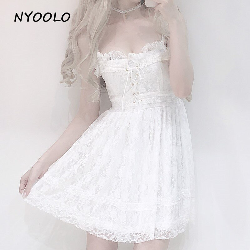 NYOOLO, vestido de encaje sin tirantes de verano, blanco, Correa apaghetti, sin mangas, cintura alta, línea A, mini vestido de encaje para mujer