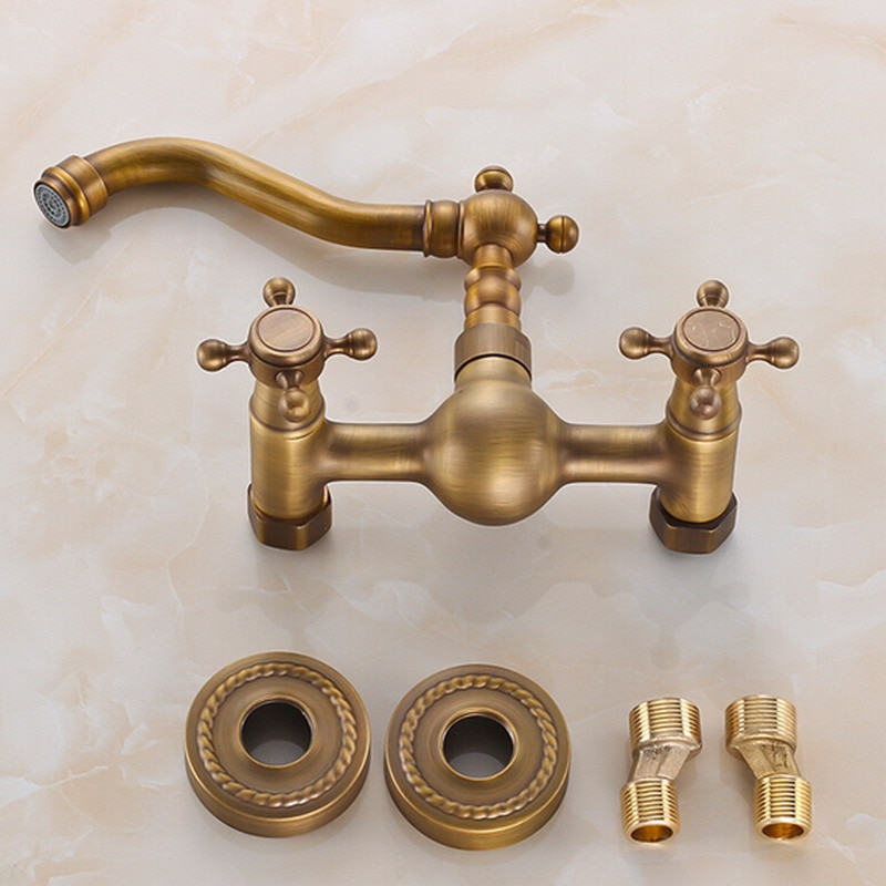 Kitchen Faucet Wall Mounted Antique Brass Dual Handles Swivel Spout Bathroom Basin Sink Mixer Tap KD1259