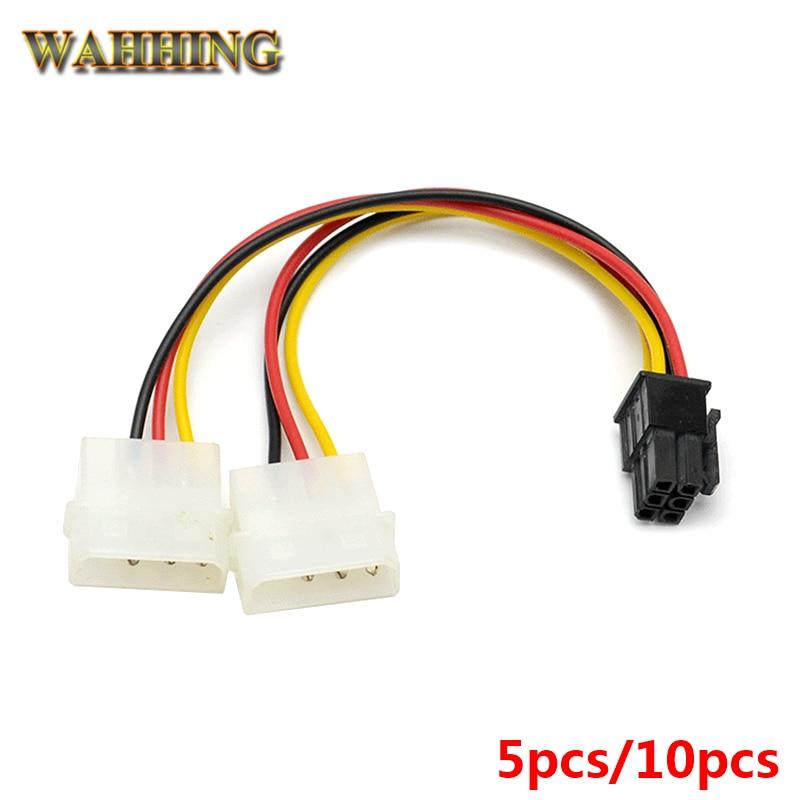 5pcs 10pcs New 2 x Molex To PCI-E Power Adapter 4Pin 4 Pin 6 Pin 6Pin Graphics Video Card Converter Cable HY261