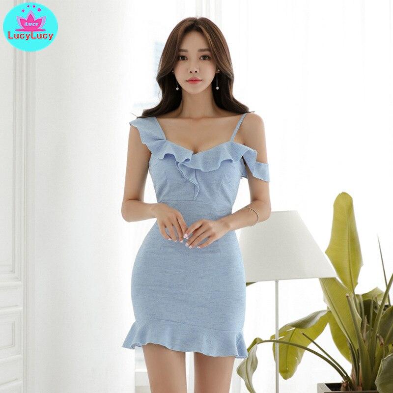 2019 été nouveau tempérament coréen ébouriffé hors-la-épaule mince pack hanche ébouriffé femme robe genou longueur sans manches gaine