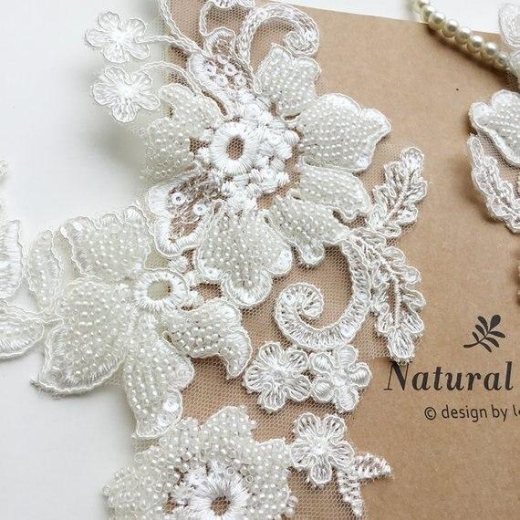 Aplique de encaje de cordón de cuentas pesadas blancas con motivos florales 1 pieza, aplique de encaje Alencon para boda, cinturones de velo de diademas de novia