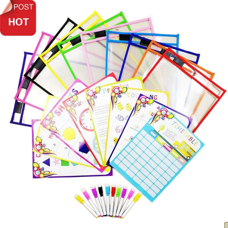 Puzzle jouets peuvent être réutilisés avec PVC Transparent brosse sèche sac animal écriture sèche lingette sac dessin jouet pour enfants adultes