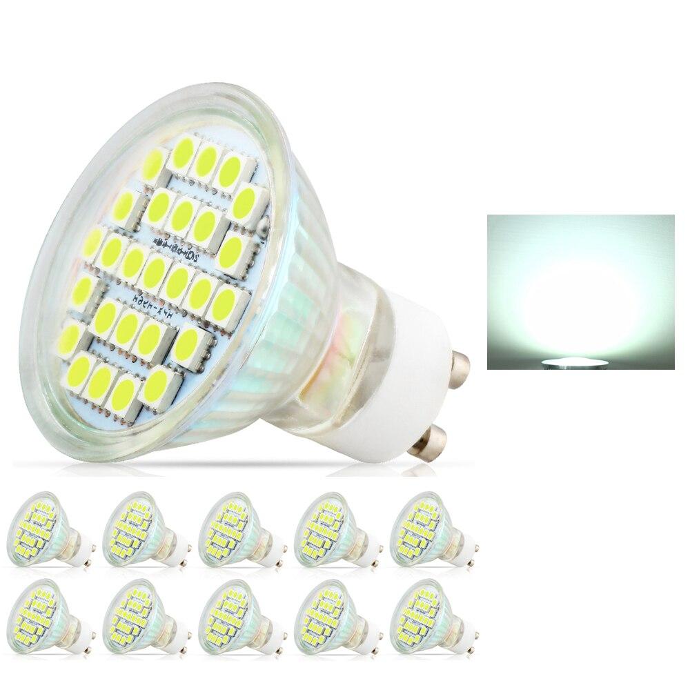 10X 3,5 W LED lámpara GU10 SMD 5050 AC220V-240V foco LED caliente/blanco frío bombillas de luz LED con vidrio de seguridad