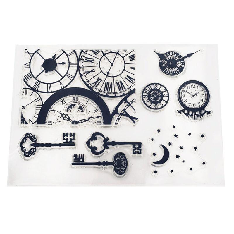 Reloj llave silicona sello claro sello DIY álbum de recortes repujado álbum de fotos Tarjeta de papel decorativa arte regalo hecho a mano