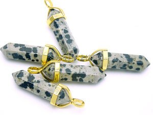 Dalmatian Jaspers Natural Spotted Beige Black  Double Terminated Point With Golden Bail or Silver SP-0181