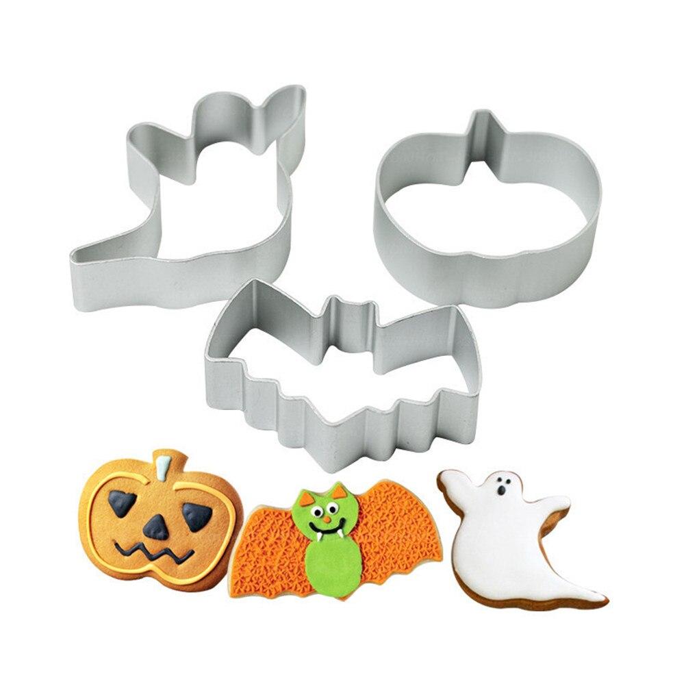 Molde para hornear galletas de Halloween, Navidad, 3 estilos, molde para hornear, galleta de azúcar con forma de murciélago fantasma, calabaza, Chocolate artesanal