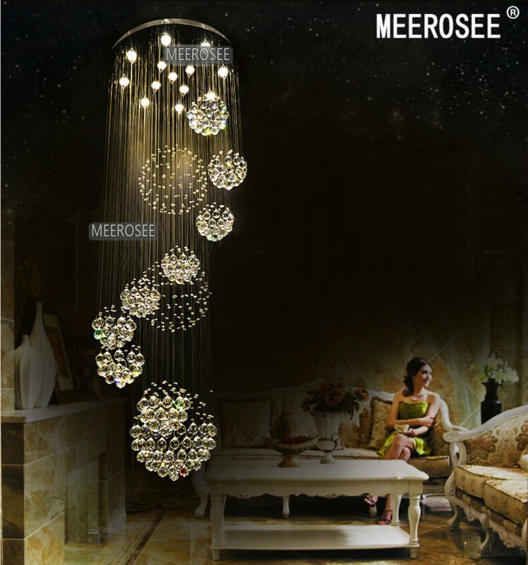 Lámpara de araña de cristal grande moderna para vestíbulo, escalera, escaleras, lámpara de techo de lustre de luz de cristal espiral larga