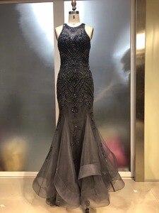 New Design Long Prom Dresses O-Neck Sleeveless Beading Tulle Mermaid Evening Dresses Vestido de festa 2019