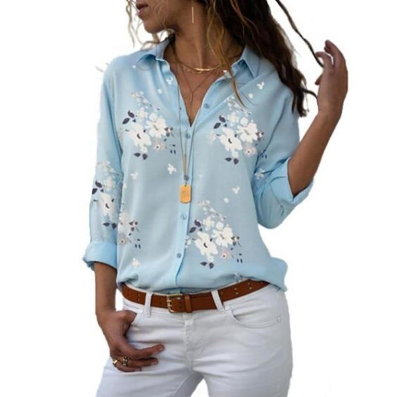 Verano Dioufond blusas estampadas de manga larga camisa Turn Down Collar Floral blusa de talla grande mujer Vintage Camisa de algodón