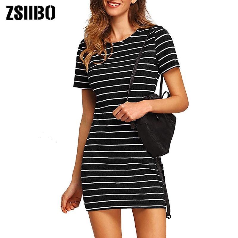ZSIIBO Primavera Verano Anutumn mujeres Causal manga corta a rayas ceñido al cuerpo mini vestido Dropshipping