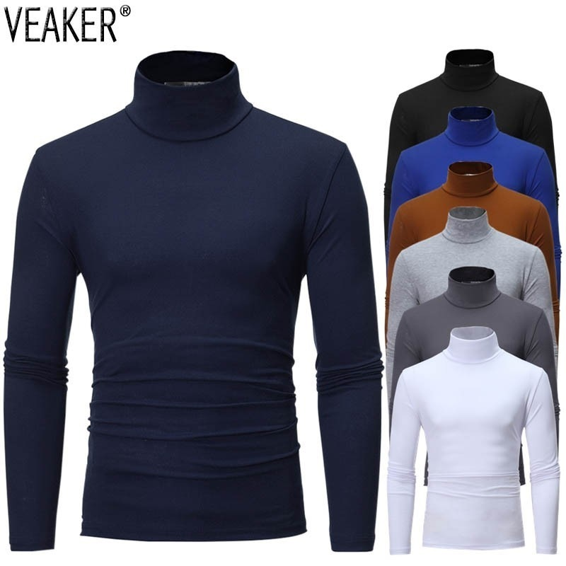 2020 New Men's Solid Color Turtleneck T Shirts Male Slim Fit Long Sleeve T Shirts Black White Men ts