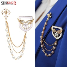 SHEEGIOR or gland chaînes broche broches hommes Badge bijoux de mode belle croix ange ailes collier broches pour femmes accessoires