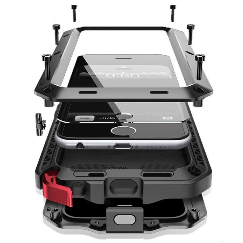 Para iphone 8 XS funda de lujo armadura definitiva a prueba de polvo impermeable de Metal para iphone SE X 5S 6S 7 Plus funda + Vidrio Templado
