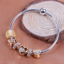 Silver Color Love Charm Bracelets For Women White Crystal DIY Beads Bracelets & Bangles Pulsera Gift Fashion Jewelry