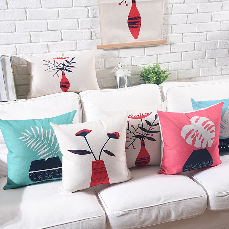 Decorative cushion covers Pillow Cover Cute Potted Plant Printed Thick Cotton Linen Home Decorative Pillow Case 45x45cm/60x60cm