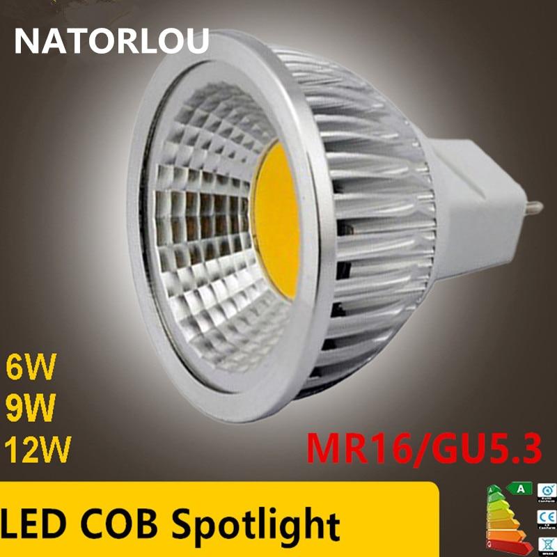 ¡Precio al por mayor de fábrica! bombilla LED MR16 COB 6W 9W 12W MR16 12 V, blanco cálido/4000 K/blanco frío
