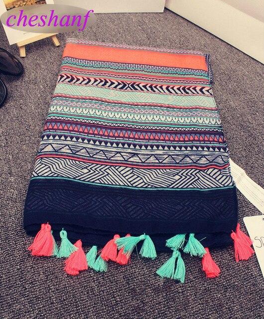 Cheshanf Ethnic Head Scarf 2020 Designer Hijab Scarf Womens Scarfs Spain Style Bohemian Hippie Geometric Pattern Tassels Scarf