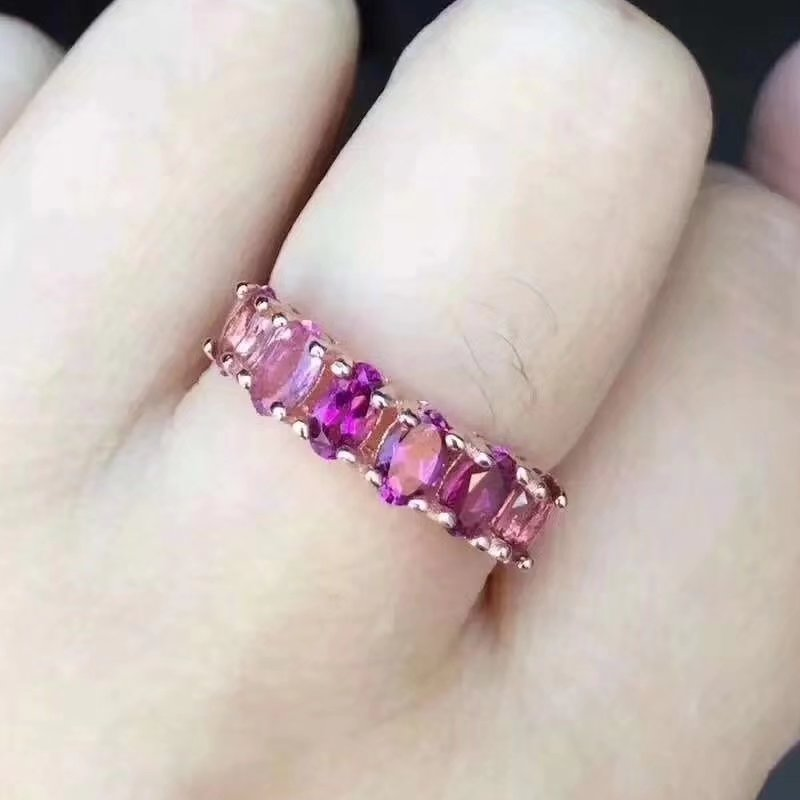 Fidelidade 3*5mm turmalina rosa Natural Anéis s925 sterling silver clássico Permutações fine Jewelry para as mulheres gemstone Natural