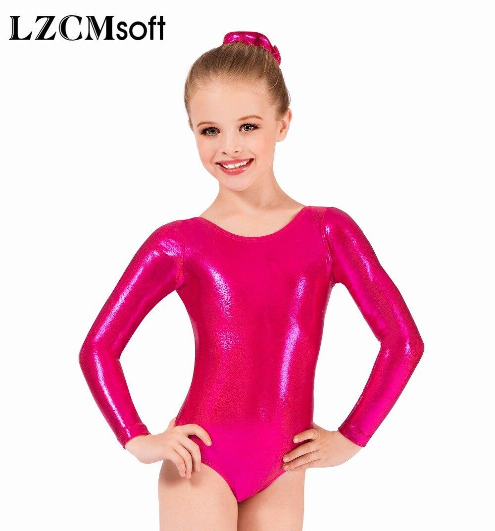 LZCMsoft niñas de manga larga Leotardos de plata brillante metálico Mallas de gimnasia de una pieza niños actuación ballet baile de disfraces