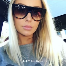 2019 Oval Sunglasses Women Vintage Luxury Brand Design Gradient Lens Flat Top Big Rivet Frame UV400