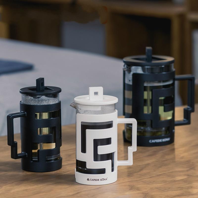 Labirinto imprensa francesa pote casa café vidro moka café chá leite espuma de leite fabricante de espuma filtro pressão 300 800ml cafeteira bule