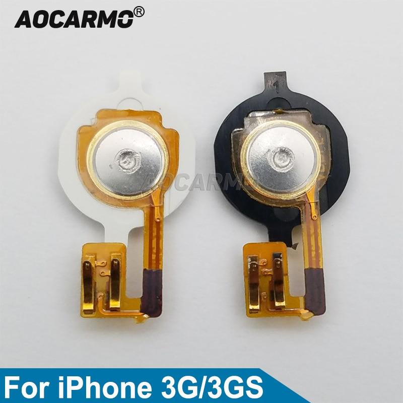 Aocarmo chave principal botão de casa com cabo flexível para iphone 3g 3gs preto/branco substituição