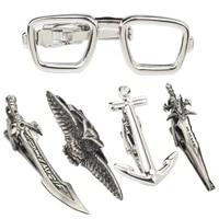 1 piece fashion jewelry tie clips wholesale silver metal tie clip for men tie bar owl eyes anchor sword knife