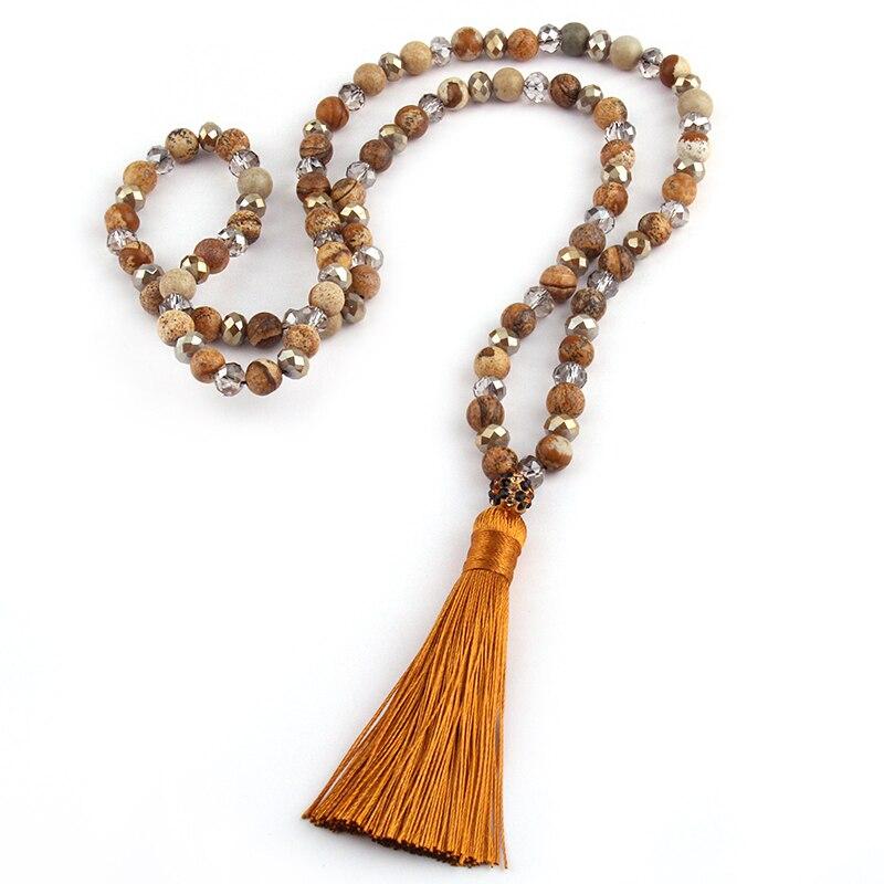 Collar de moda bohemio Tribal, rústico soldado artesano largo borla joyería cristal y piedra Declaración