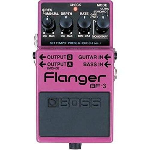 BF-3 de Pedal Boss Audio para guitarra y bajo con modo momentáneo, toque Tempo y modos de ganancia Ultra y caja de Pedal gratuita