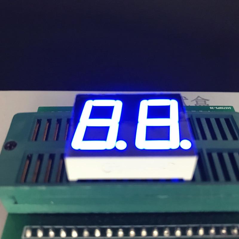 10 Uds azul 0,56 pulgadas 2Bit 7 segmentos LED pantalla dinámica Estado Digital tubo plástico Metal cátodo común/ánodo