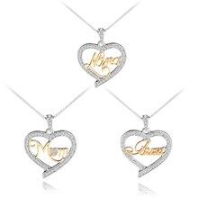 2 couleur plaqué maman/maman/tante cristal coeur pendentif collier charme femmes Twotone mode anniversaire cadeau pour elle