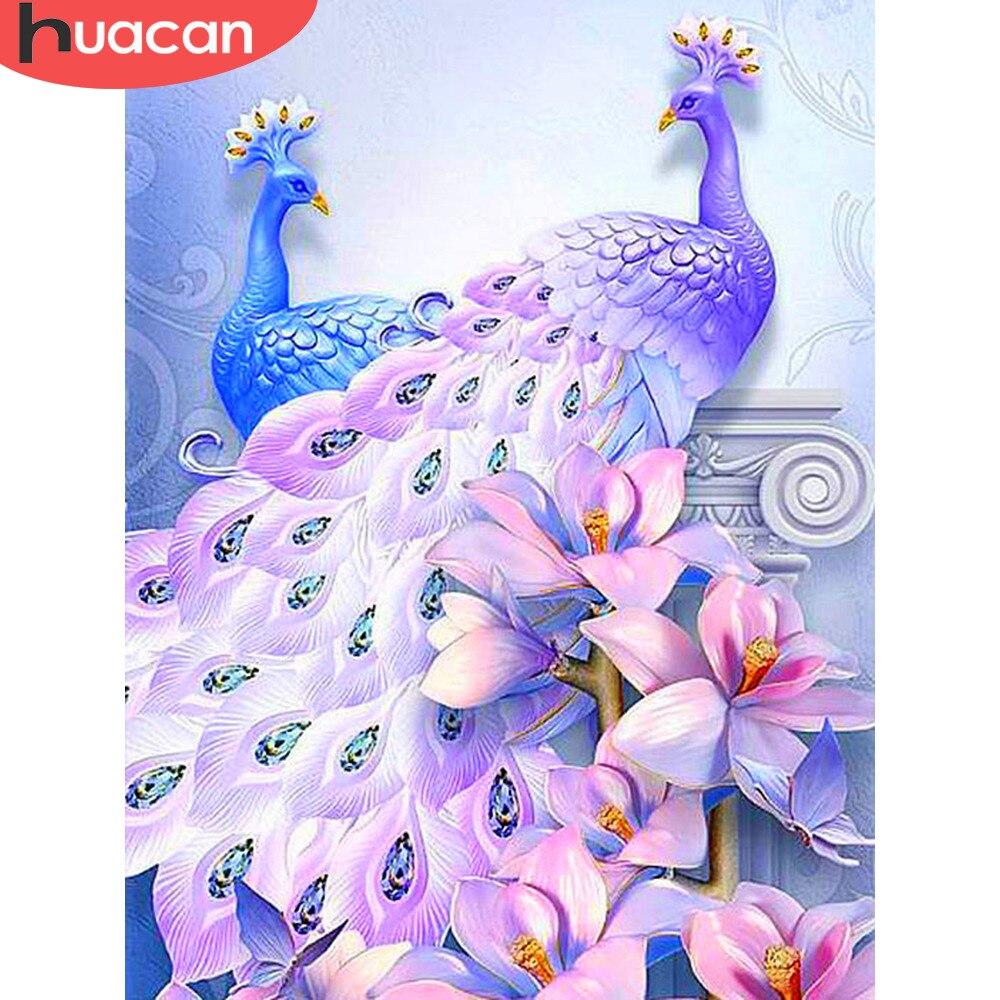 Huacan diamante arte pavão pintura diamante praça cheia nova chegada strass imagem diamante bordado diamante mosaico animal
