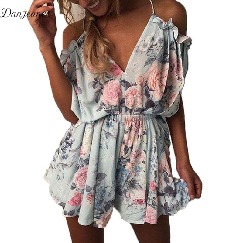 Danjeaner Women Rompers Floral Print Jumpsuit Summer Short Ruffles Beach Overalls Jumpsuit Female Wrapped Strapless Playsuits playsuits women fashion bodysuit jumpsuits rompers overalls feminino floralprint chiffon jumpsuit orange ruffles hem pant