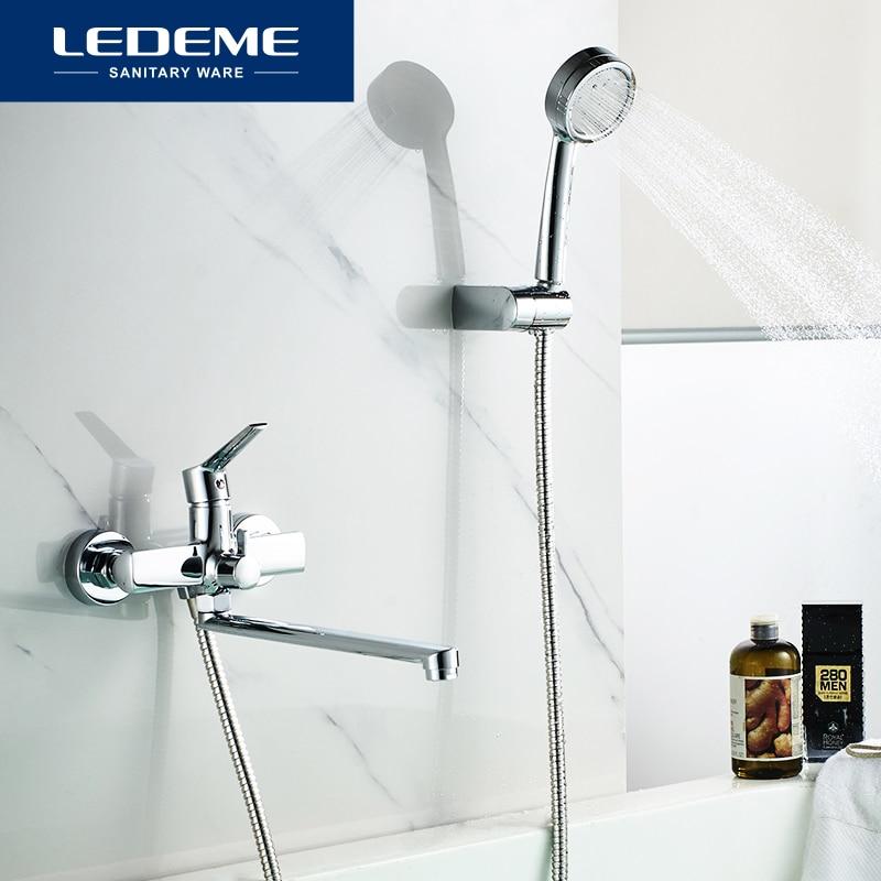 LEDEME surtidor largo grifo de ducha de bañera montado en la pared grifo mezclador de ducha de mano grifo de bañera grifo mezclador de baño cromado L2269