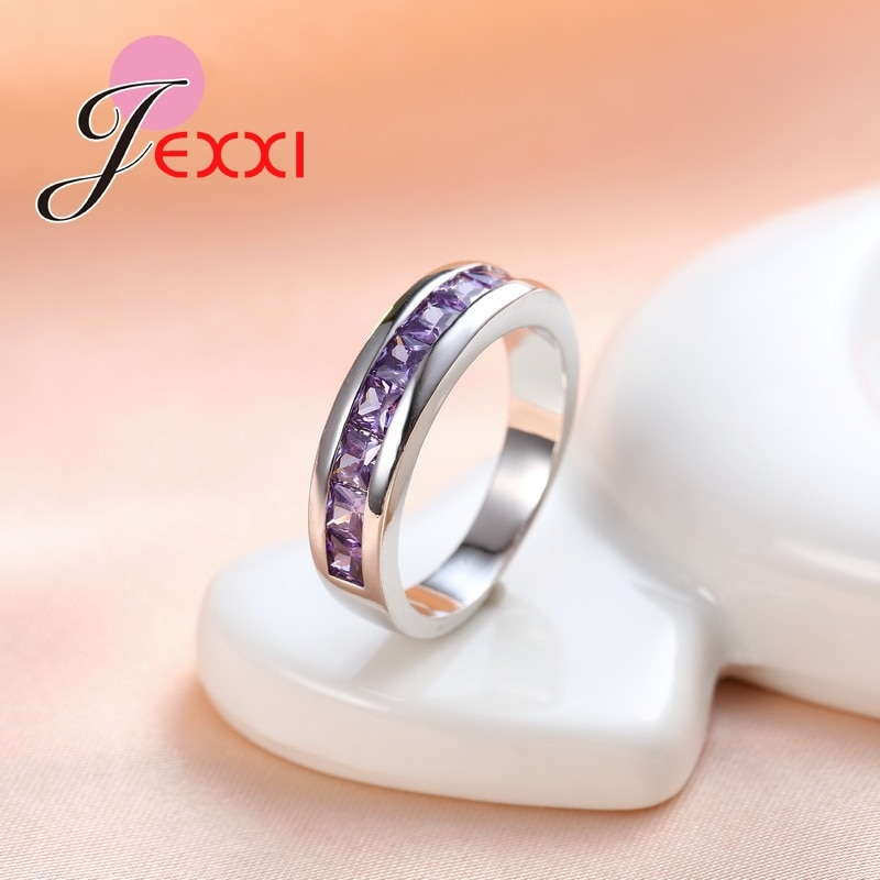 Trendy Girls 925 Sterling Silver Rings For Women Wedding Purple Crystal Finger Ring Amethyst Engagement