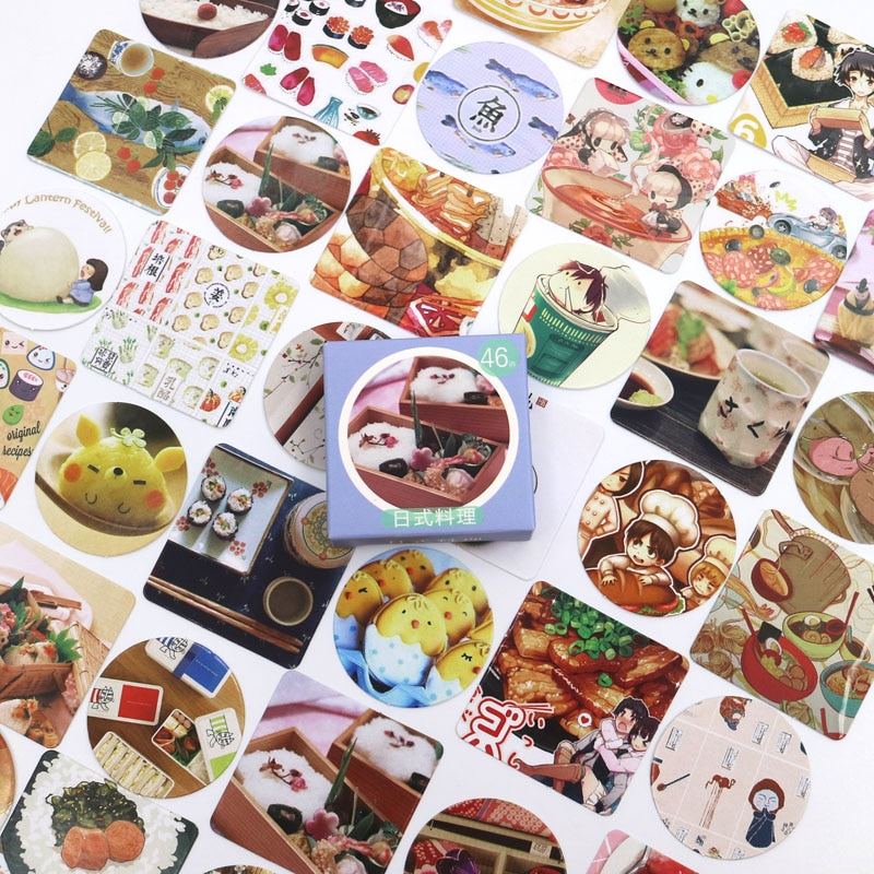 New Sushi Food Diary Paper Lable Stickers Crafts And Scrapbooking Decorative Lifelog Sticker DIY Lovely Stationery 46 PCS/box недорого
