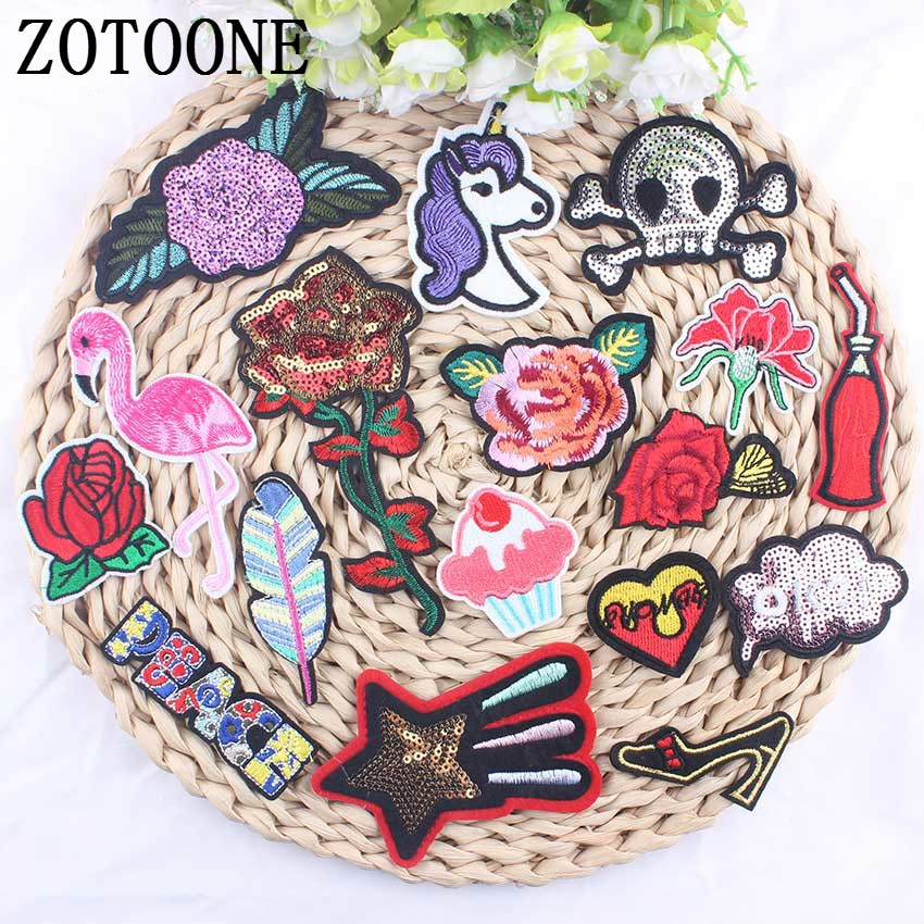 ZOTOONE 1PCS Sequin Flower Embroidered Applique Cartoon Skull Skeleton Flamingo Patches Iron On Kids DIY Patches For Garments A