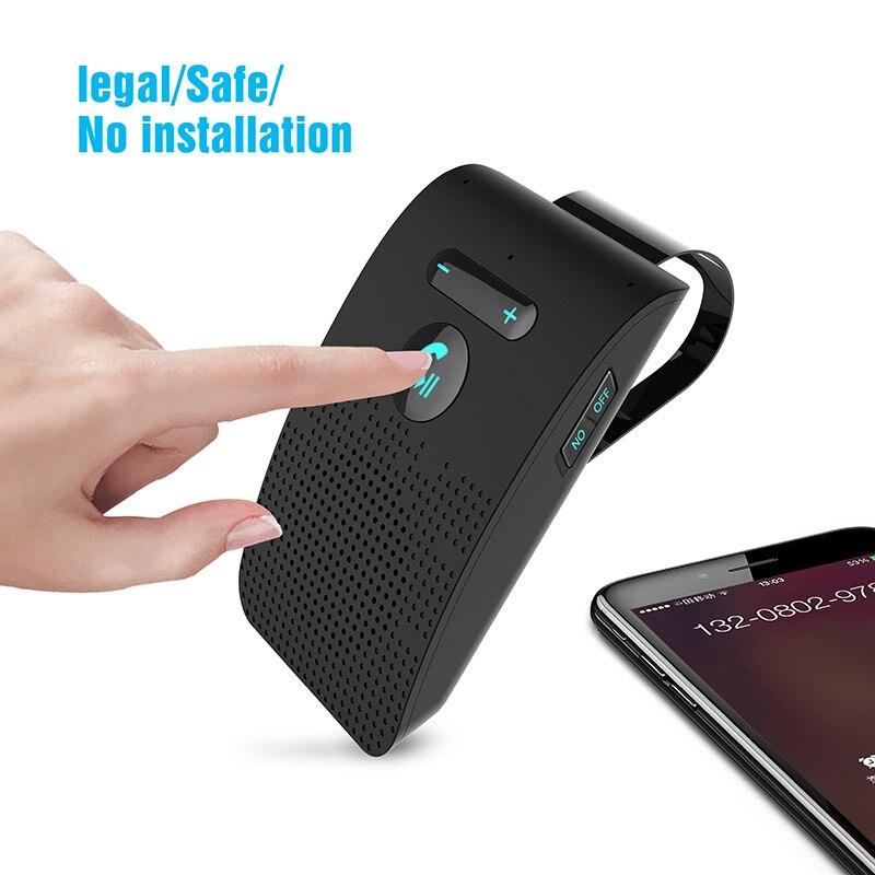 Coche inalámbrico Bluetooth 5,0, dispositivo manos libres Bluetooth, Kit de coche, emisión de voz, parasol, receptor de altavoz, navegación por teléfono