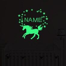 Kreative DIY Name Einhorn Leucht Wand Aufkleber Glow In The Dark Cartoon Wand Aufkleber für Kinder Zimmer Schlafzimmer Wohnkultur LU028