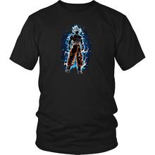Goku Ultra instinto camisa dominado Ultra instinto DBS camiseta Goku azul de dibujos animados camiseta de los hombres Unisex nueva moda camiseta