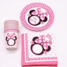 40Pcs Minnie rosa cartoon Party Dekoration Teller Tassen Servietten Abdeckung Baby Dusche Geburtstag Dekore Kinder Partei Liefert