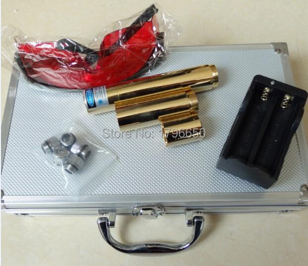 Punteros láser azul de alta potencia 500000 m 500 w 450nm fósforo de quema/madera seca/vela/Negro/ quemar cigarrillos + gafas + cargador + caja de regalo
