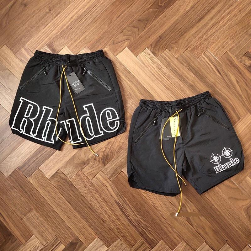 19SS RHUDE Rhude X patrón nueva versión pantalones cortos hombres verano RHUDE malla natación tronco 3 opciones Unisex cremallera cordón corto