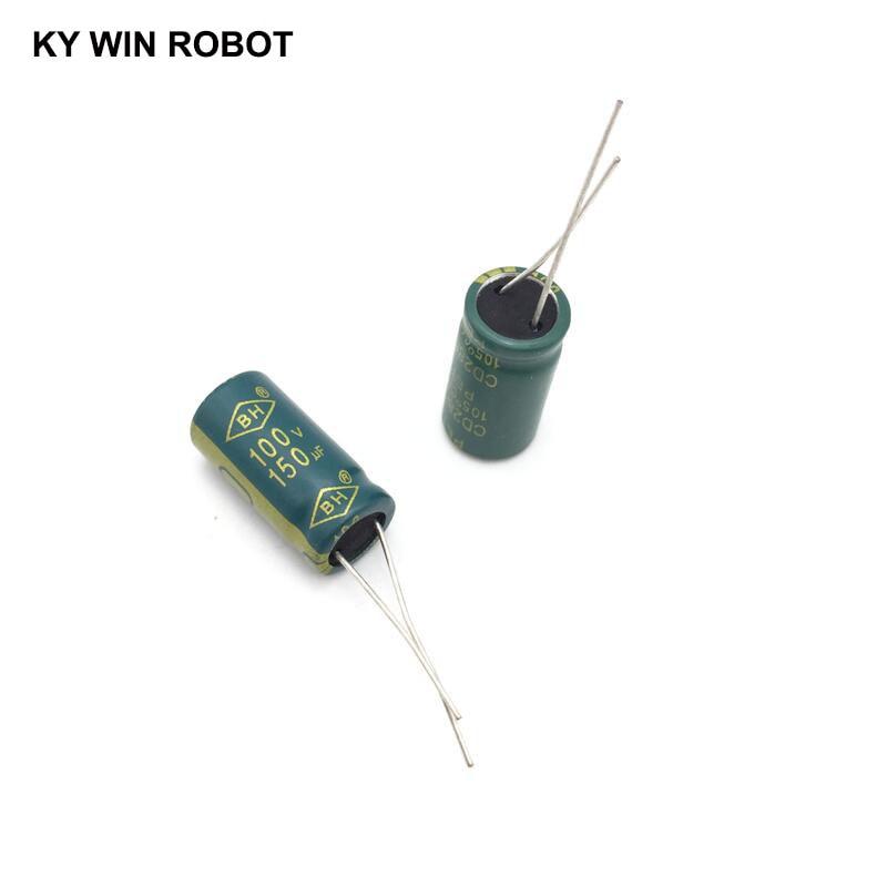 10 pcs Aluminum electrolytic capacitor 150 uF 100 V 10 * 20 mm frekuensi tinggi Radial Electrolytic kapasitor конденсатор duelund vsf 100 v 4 7 uf aluminium