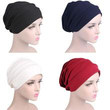 Mulheres respiram chapéu hijabs turbante cabeça elástica boné senhoras perda de cabelo câncer gorro acessórios muçulmano cachecol boné