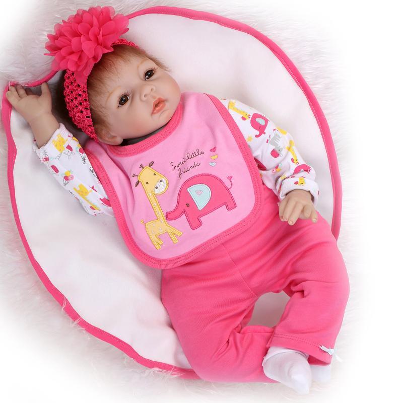 "Bebe doll babies 22""NPK soft body silicone reborn dolls for children gift fake baby real alive new born babies  bonecas reborn"