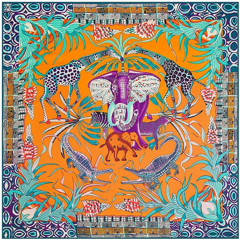 Luxury Brand Big Size Animal Print Scarf Women Square Twill Silk Scarf Elephant Scarf Shawls Bandanas Wholesale 130*130CM