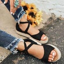 Sandales femme fond souple Rome chaussures plates sandales femme gladiateur plage Sandalias Mujer grande taille talons bas sandales femme